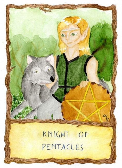 Thornbow Tarot:: Knight of Pentacles (Jan/Feb 2013 art trade)